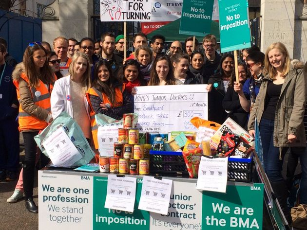 Striking Junior Doctors Give Food Donated On The Picket Line To Peckham