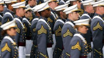 WEST POINT, NY - MAY 28:  Cadets enter the stadium at West Point for the graduation ceremony at the U.S. Military Academy on May 28, 2014 in West Point, New York. U.S. President Barack Obama gave the commencement address at the graduation ceremony. In a highly anticipated speech on foreign policy, the President provided details on his plans for winding down America's military commitment in Afghanistan and on future military threats to the United States. Over 1,000 cadets were expected to graduate from the class of 2014 and will be commissioned as second lieutenants in the U.S. Army.  (Photo by Spencer Platt/Getty Images)