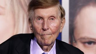 "Sumner Redstone, executive chairman of CBS Corp. and Viacom, arrives at the premiere of ""The Guilt Trip"" starring Barbra Streisand and Seth Rogen in Los Angeles December 11, 2012.  REUTERS/Fred Prouser/File Photo"