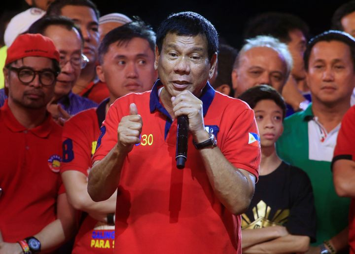 Philippine president candidate Rodrigo Duterte was leading the polls as unofficial presidential election results poured in on