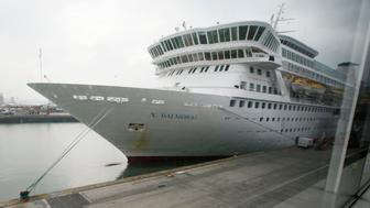 The cruise ship Balmoral is prepared prior to boarding of passengers going on the Titanic Memorial Cruise in Southampton, England April 8, 2012. An outbreak of the norovirus stomach bug has sickened 160 people aboard a Fred Olsen Cruise Lines ship docked at Norfolk, Virginia, U.S. health officials and the company said on Friday. The norovirus outbreak took place aboard the Britain-based line's Balmoral during a transatlantic cruise, the Centers for Disease Control and Prevention (CDC) said in a statement. REUTERS/Chris Helgren/File Photo