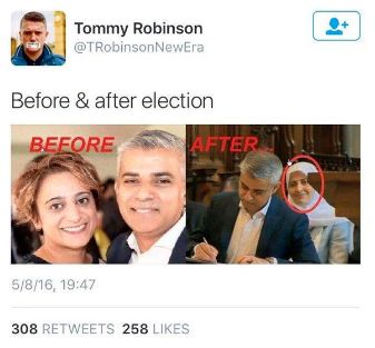 Not the same person: Tommy Robinson's now deleted