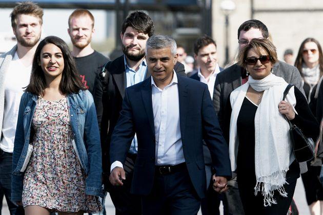 Sadiq Khan arrives with his wife Saadiya, family and aides on