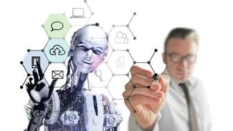 Genius Team: businessman and cyborg creating a new generation interface design on digital whiteboard. Great duo creates a new web formula. Man drawing, the robot applies.