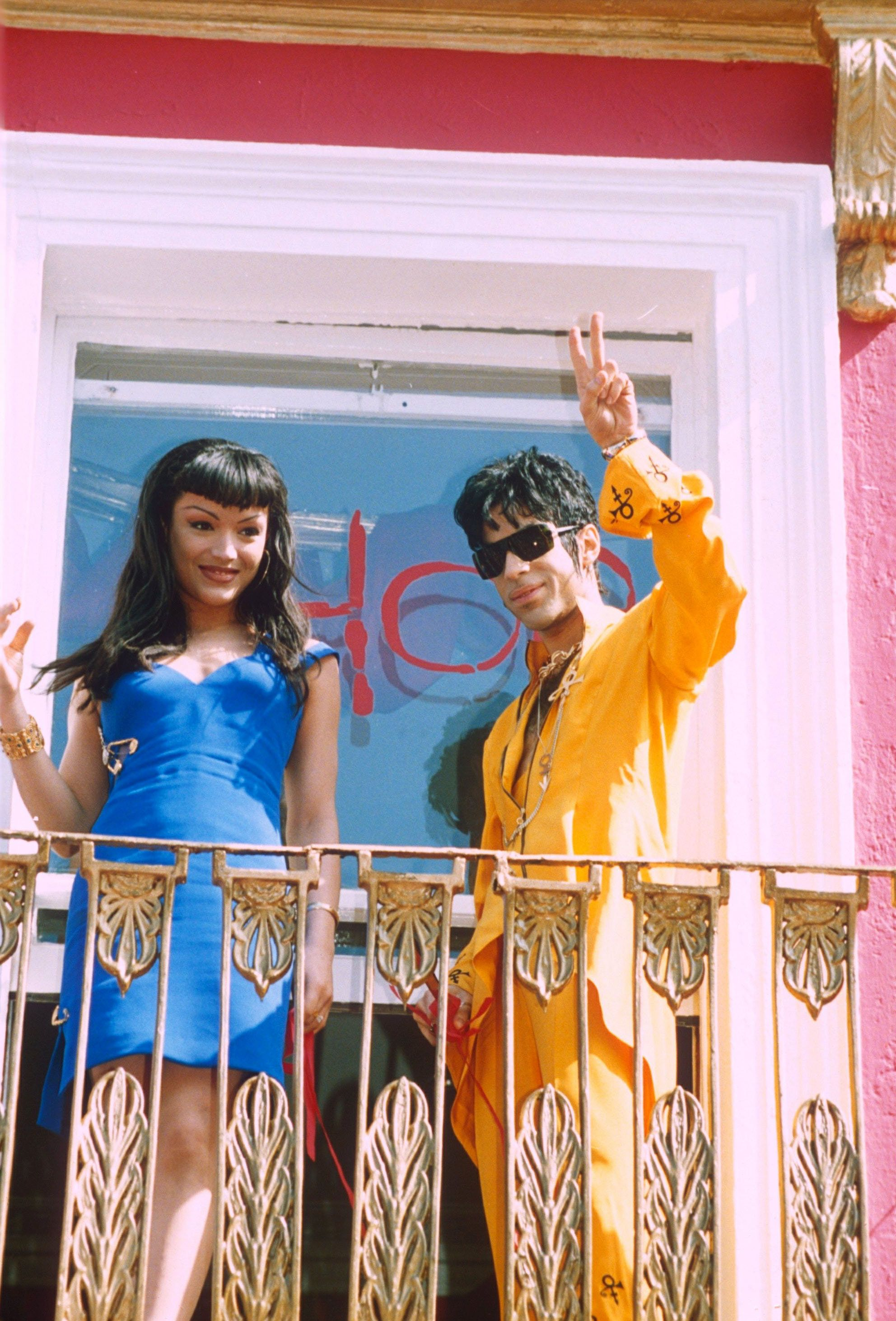 Prince Opening His Shop, Camden, London, Britain - 1994, Mayte Garcia And Prince (Photo by Brian Rasic/Getty Images)