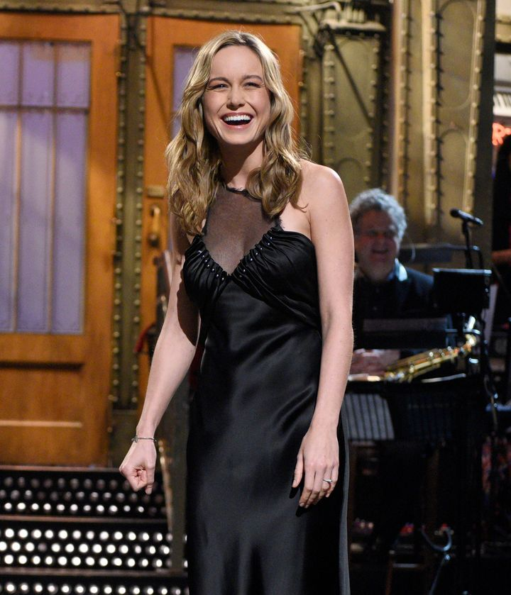 "Larson wearing what seems to be her engagement ring on ""SNL,"" May 7, 2016."