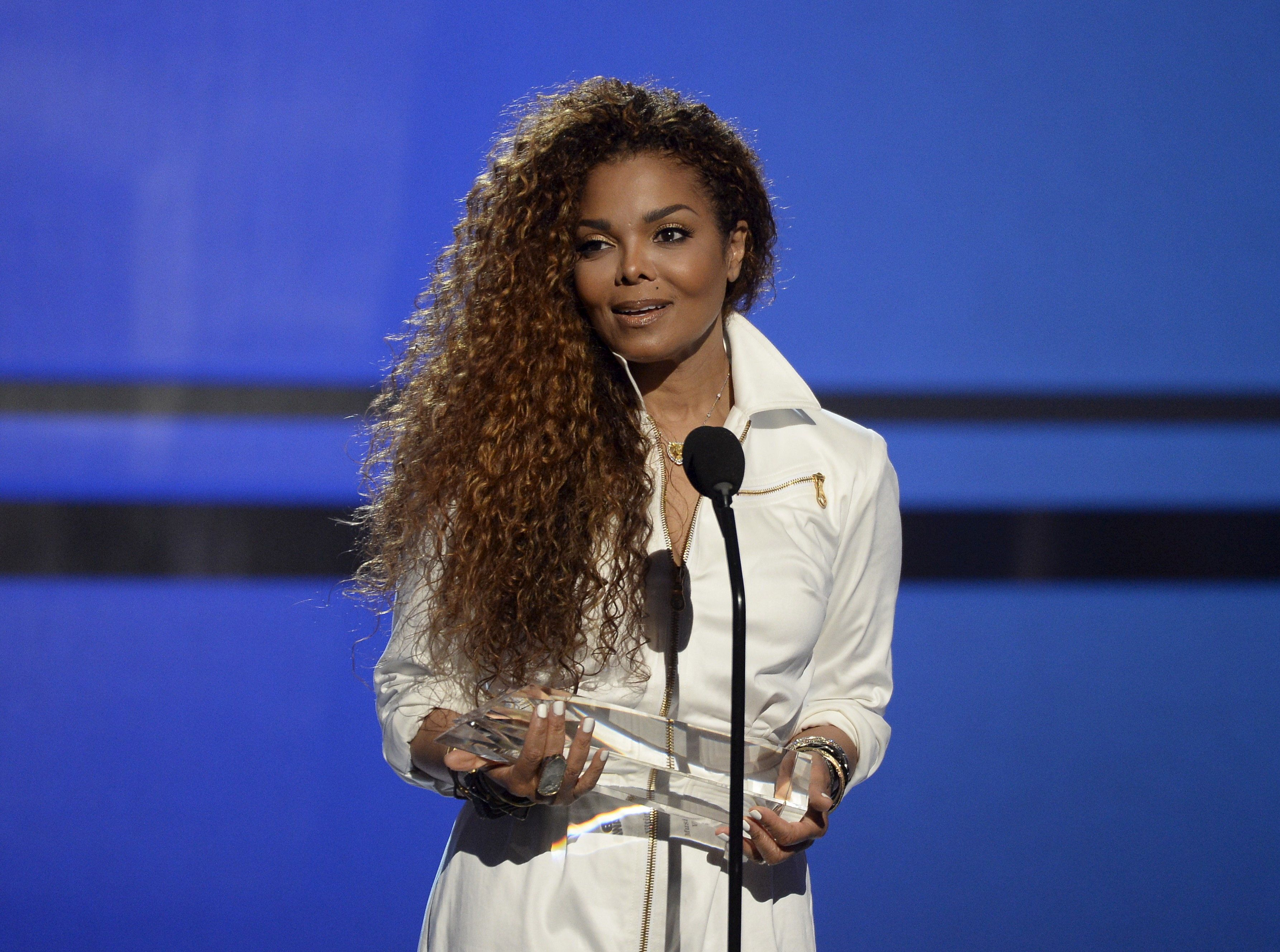"""Hinting at a possible pregnancy, Janet Jackson announced on April 6 that she was temporarily halting her world tour because of a """"sudden change"""" that required her and her husband to plan a family."""