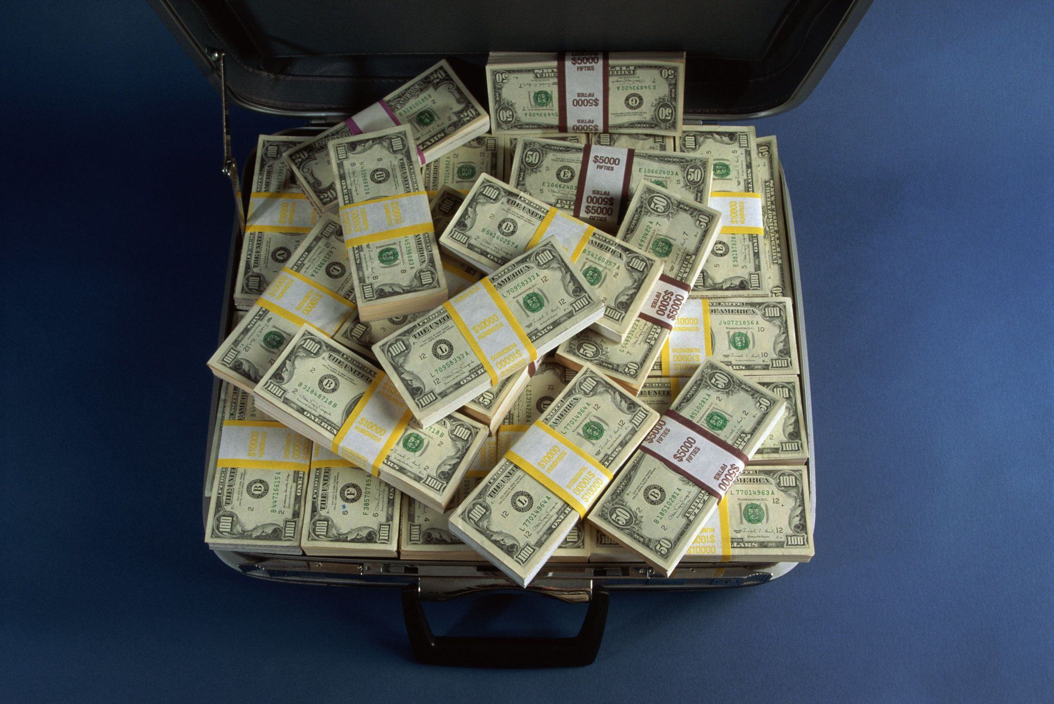 Suitcase filled with US currency notes