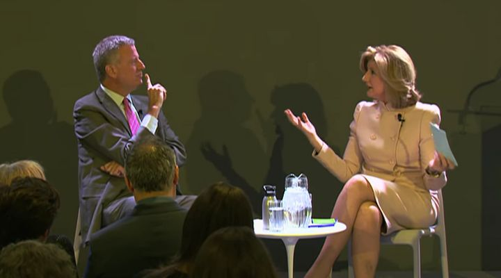 New York Mayor Bill de Blasio and Huffington Post Editor-in-Chief Arianna Huffington at an event Monday at the Civic Hall tec