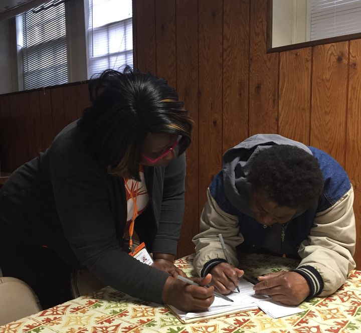 Karen Fountain, an organizer with New Virginia Majority in Richmond, helps people with past felony convictions who have finis