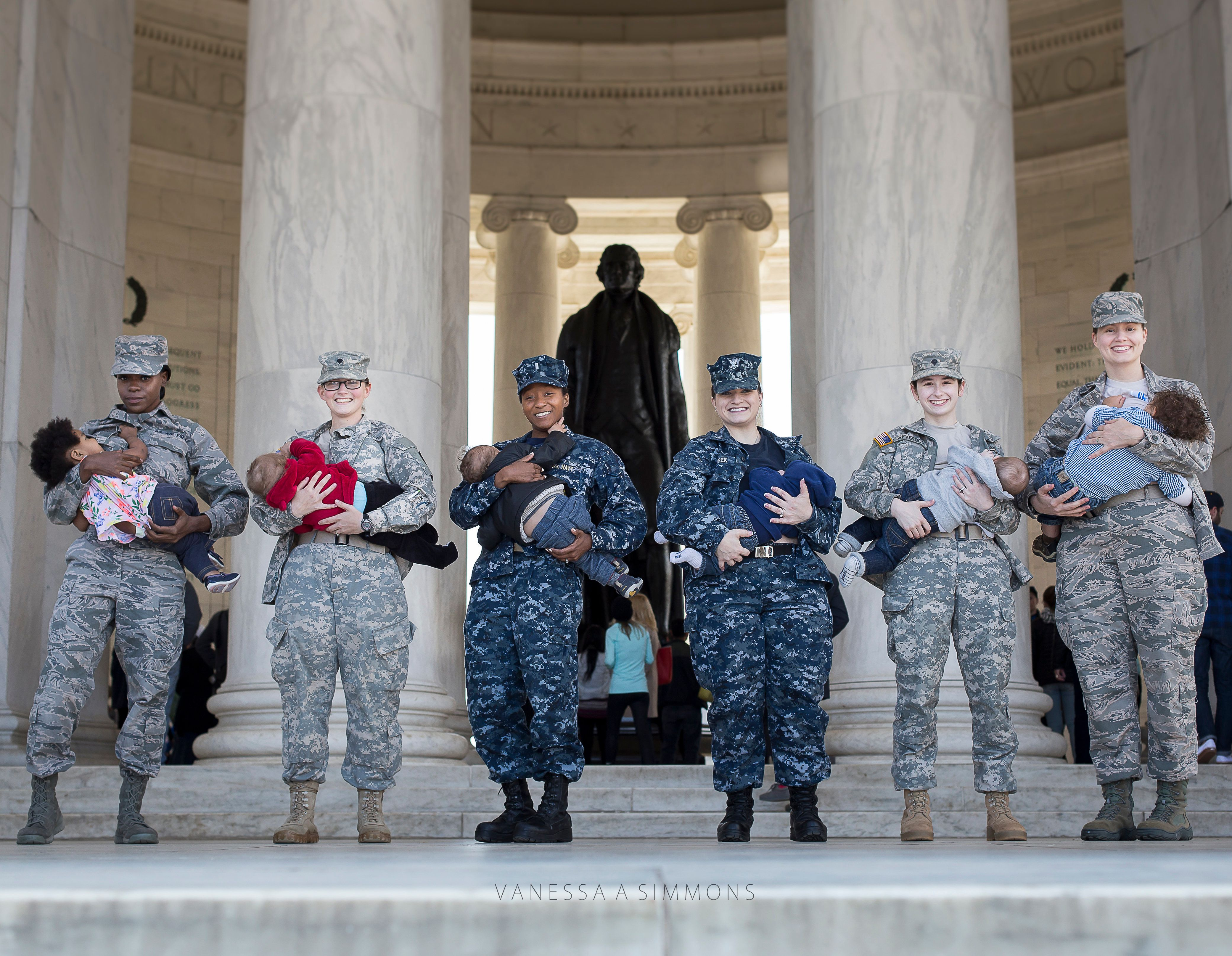 "Moms in the military nursed their babies at the Jefferson Memorial as part of the ""Normalize Breastfeeding"" photo project."
