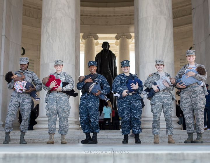 """Moms in the militarynursed their babies at the Jefferson Memorial as part of the """"Normalize Breastfeeding"""" photo project."""