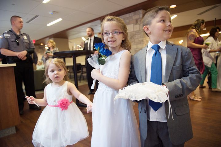 Schafer and Thomas' children from previous relationships were involved in the wedding as flower girls and ring bearers.