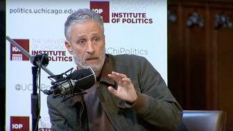 """Jon Stewart says """"man-baby"""" Donald Trump may not be eligible to be president."""