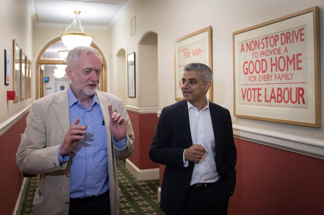 Sadiq Khan with Jeremy Corbyn in their first photocall after his