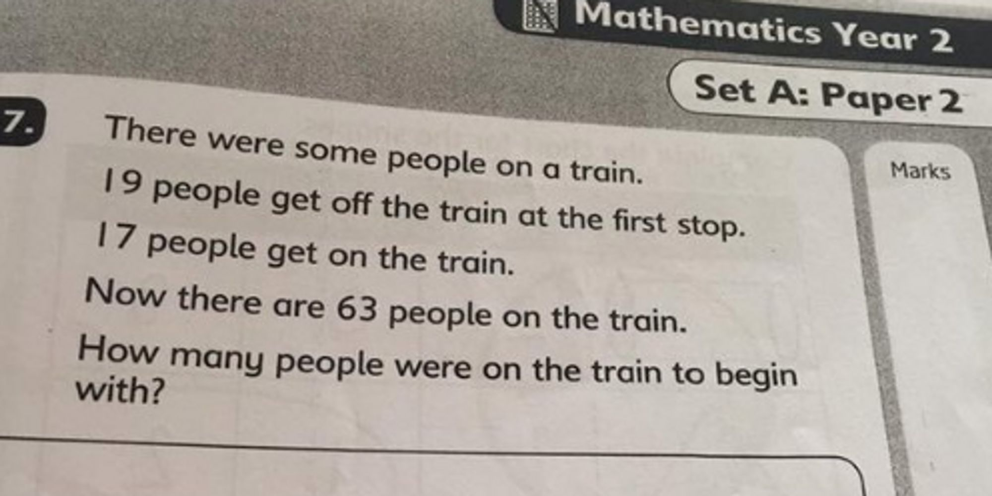 Year 2 Sats Maths Question Aimed At Six And Seven Year