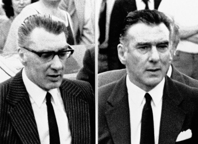 Ronnie (left) and Reggie Kray at the funeral service for their mother Mrs Violet Kray in Chingford, North...