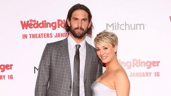 HOLLYWOOD, CA - JANUARY 06:  Tennis player Ryan Sweeting and actress Kaley Cuoco-Sweeting attend the world premiere of 'The Wedding Ringer' at TCL Chinese Theatre on January 6, 2015 in Hollywood, California.  (Photo by Taylor Hill/WireImage)