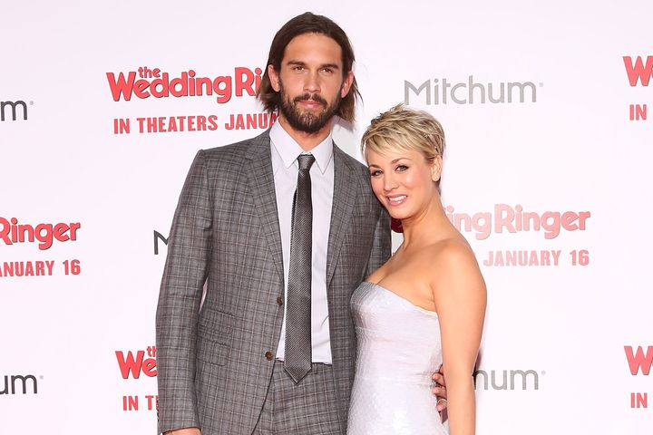 Tennis player Ryan Sweeting and actress Kaley Cuoco-Sweeting attend the world premiere of 'The Wedding Ringer' on Jan. 6, 201