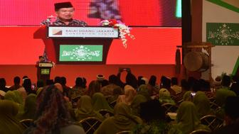 Indonesia's Vice President Jusuf Kalla (on stage at L) delivers a speech during the opening ceremony of the International Summit of Moderate Islamic Leaders (ISOMIL) in Jakarta on May 9, 2016. The country's biggest Muslim organisation, the Nahdlatul Ulama, is hosting the two-day meeting in Jakarta of Islamic leaders from around the world, seeking to promote a moderate form of Islam. / AFP / ADEK BERRY        (Photo credit should read ADEK BERRY/AFP/Getty Images)