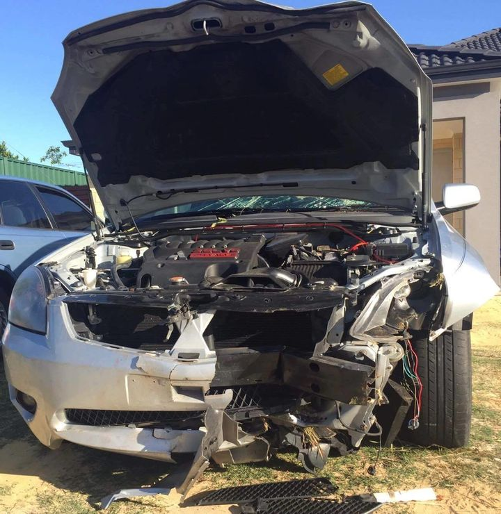 A photo of the car in the video after the crash, from the Facebook page for Dashcam Owners Australia.