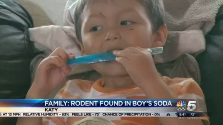 The family of Kayden Graves, 3, says he was about halfway through the bottled beverage when they spotted the dead rodent