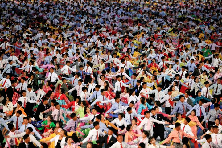 Thousands of people in North Korea marched through the streets on Tuesday asleader Kim Jong Un closed a rare ruling party congress.