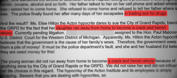 An excerpt from the email Elise Hilton says aGrand Rapids city attorney wrote about her daughter.