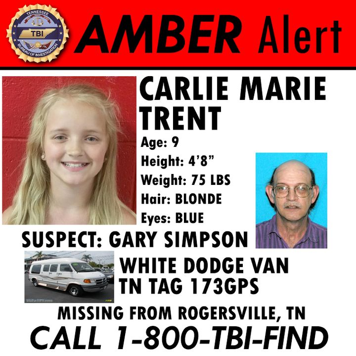 Gary Simpson, 57, is suspected of kidnapping his 9-year-old niece, Carlie Trent.