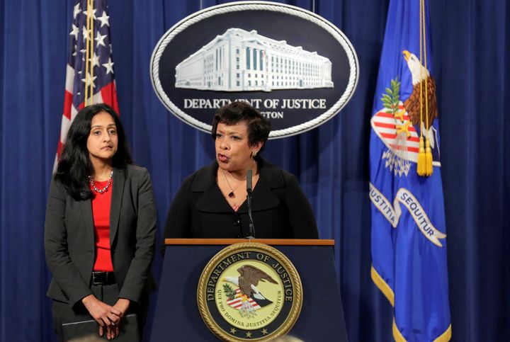 Attorney General Loretta E. Lynch (right) is taking North Carolina to court to force the state to drop controversia