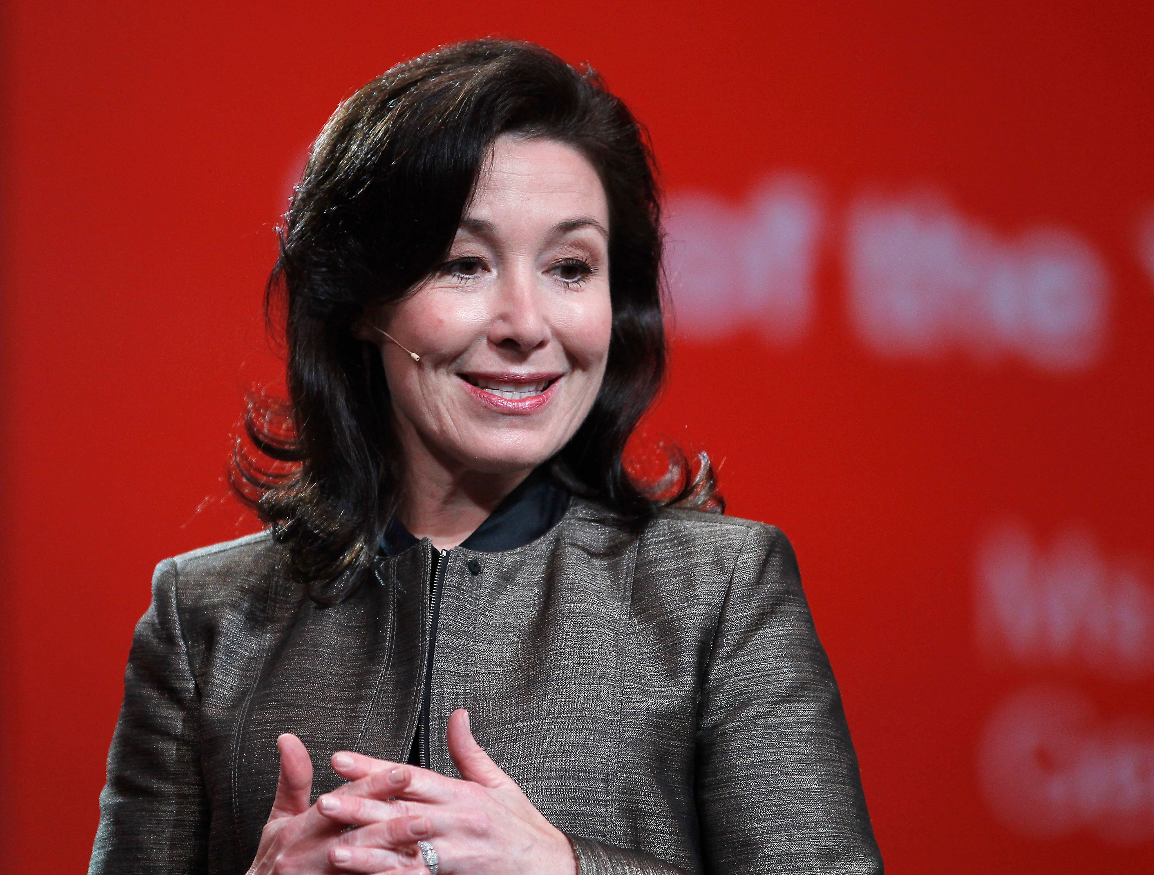 Safra Catz, co-president of Oracle Corp., speaks at the Oracle OpenWorld Conference in San Francisco, California, U.S., on Sunday, Sept. 19, 2010. Oracle Corp. is counting on hardware to spur a new wave of growth, underpinned by its acquisition of Sun Microsystems Inc. this year. Photographer: Tony Avelar/Bloomberg via Getty Images
