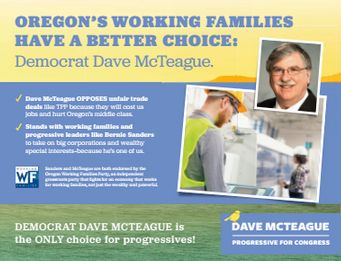 A section of one of the mailers the Working Families Party is sending to voters in Oregon's 5th District on McTeague's behalf