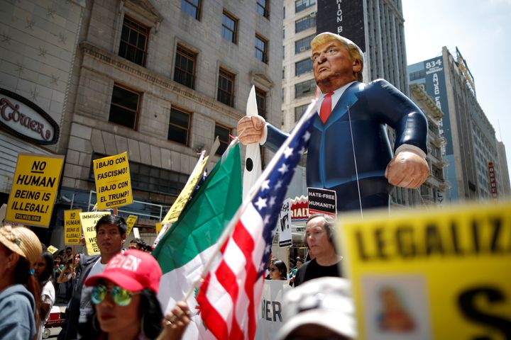 An effigy of Donald Trump at a recent immigrant rights protest in Los Angeles.