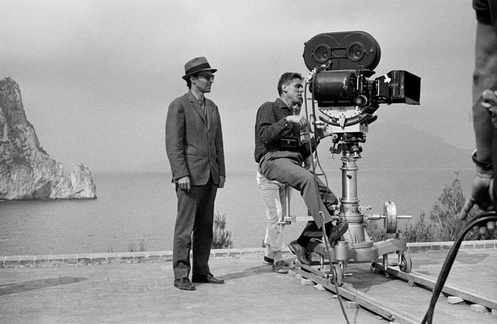 "Jean-Luc Godard during the filming of ""<strong>Le Mepris</strong>"" in Villa Malaparte on January 1, 1963 in Capri, Italy."