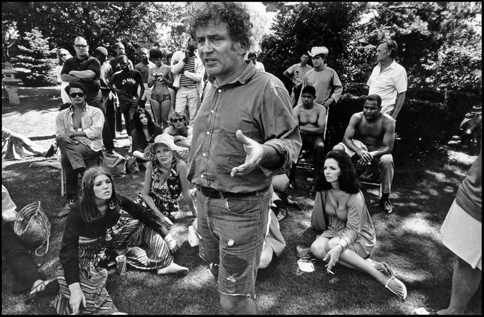 "The American writer and movie director Norman Mailer during a ""speaking party."""