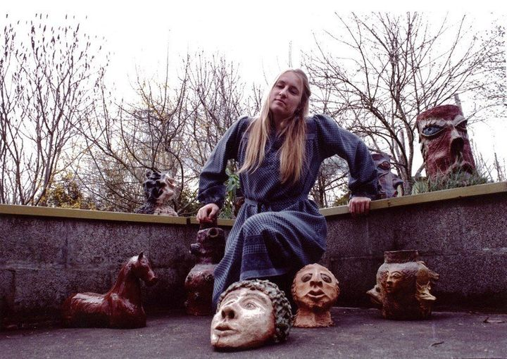 Oregon artist Betsy Soule is seen with some of her artwork back in the 1970s.