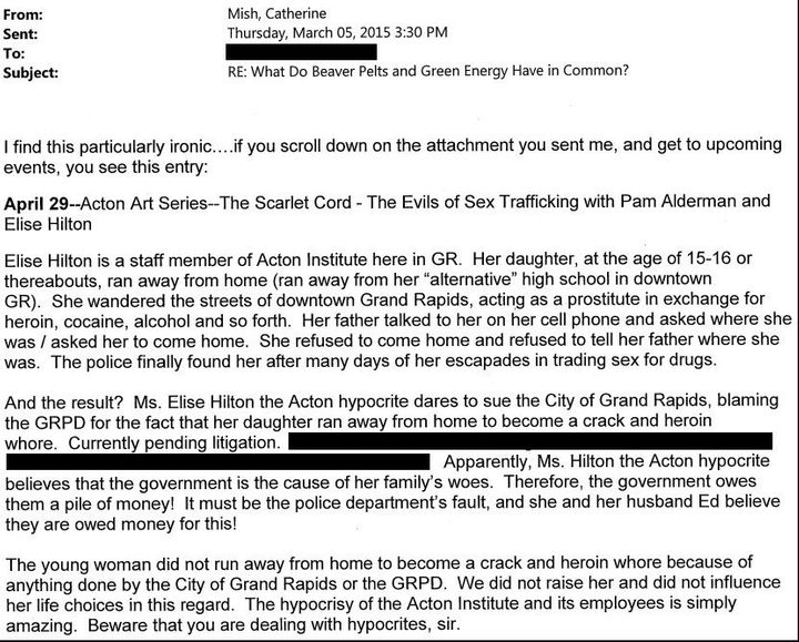 The email in question, minus information identifying the court case and the recipient.