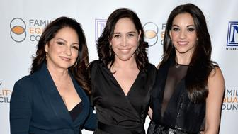 NEW YORK, NY - MAY 09:  (L-R) Singer and producer Gloria Estefan, actress Andrea Burns, and actress and singer Ana Villafane attend Family Equality Council's 11th Annual Night at the Pier hosted by Gloria & Emilio Estefan on May 9, 2016 in New York City.  (Photo by Andrew Toth/Getty Images for Family Equality Council)