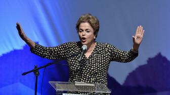 BRASILIA, BRAZIL - MAY 10:  President Dilma Rousseff gives a speech during  the opening ceremony of the 4th National Conference on Politics for Women at Ulysses Guimaraes Convention Center on May 10, 2016 in Brasilia, Brazil. (Photo by Ricardo Botelho/Brazil Photo Press/LatinContent/Getty Images)