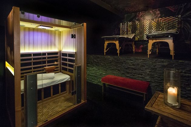 A look at the private room that houses the infrared sauna at Higher