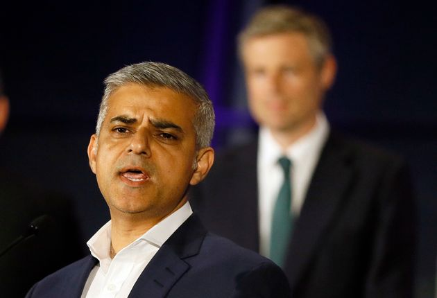 Sadiq Khan on election night, with defeated Tory rival Zac