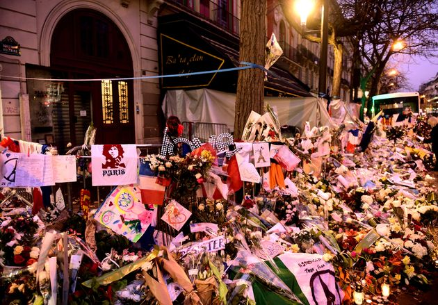Floral tributes outside the Bataclan Theatre in memory of the Paris