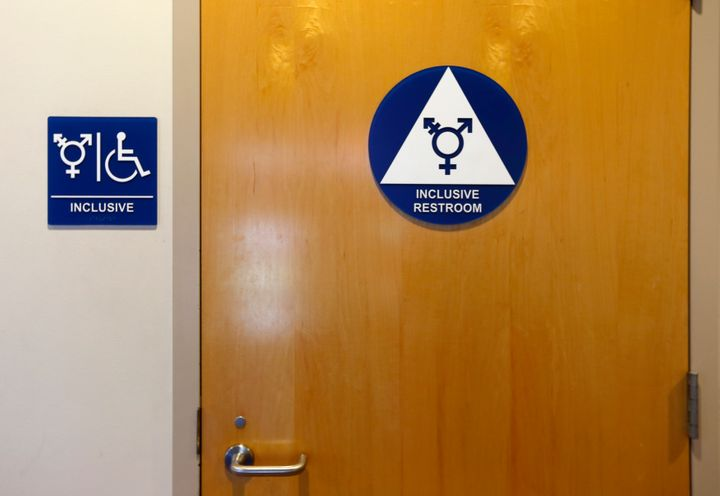 A gender-neutral bathroom is seen at the University of California in Irvine in 2014. The Obama administration is suing North