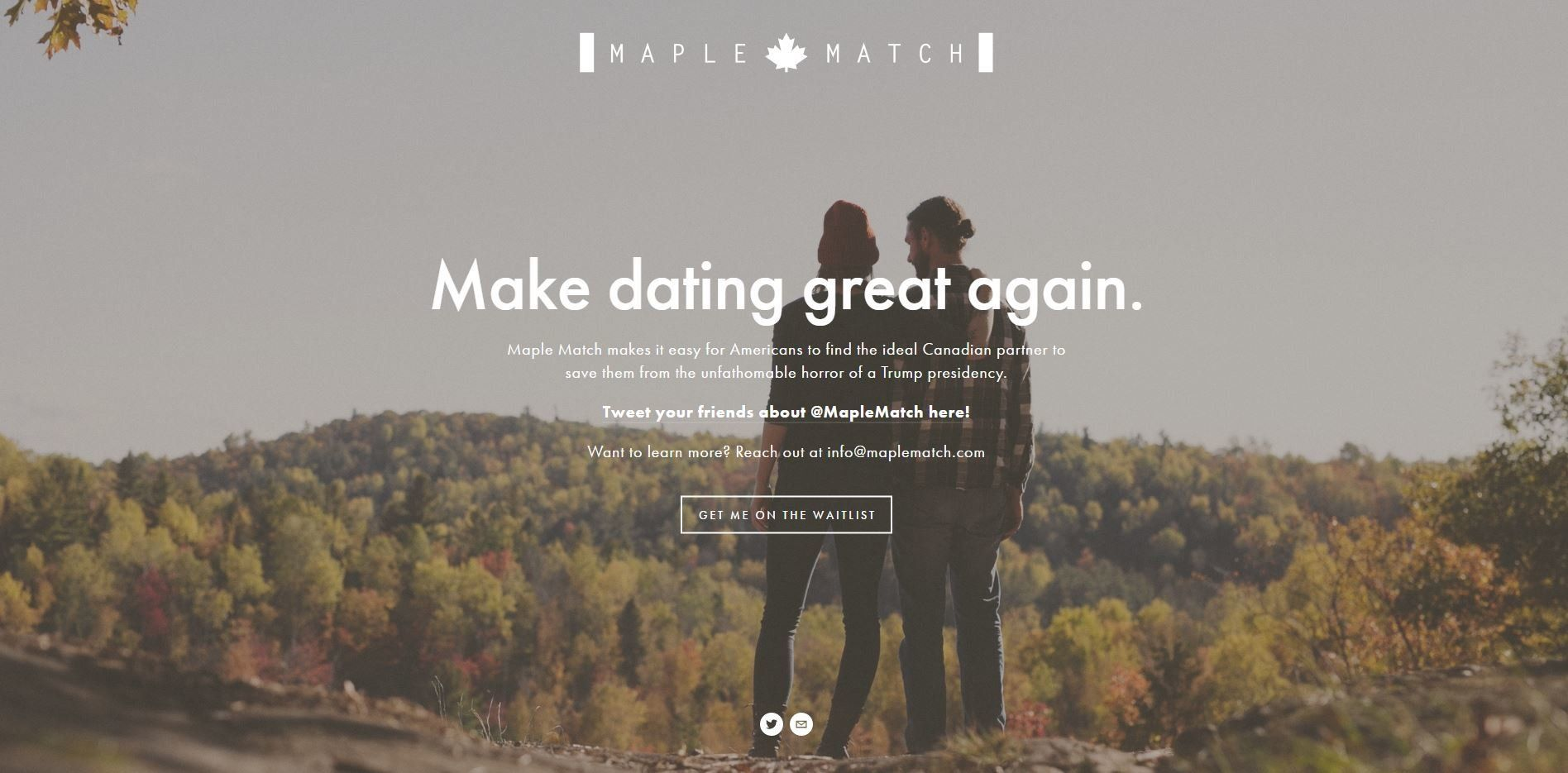 canadian dating site maple match Maple match pairs americans and canadians in an effort to help american 'refugees' move to canada make dating great again, the site promises.