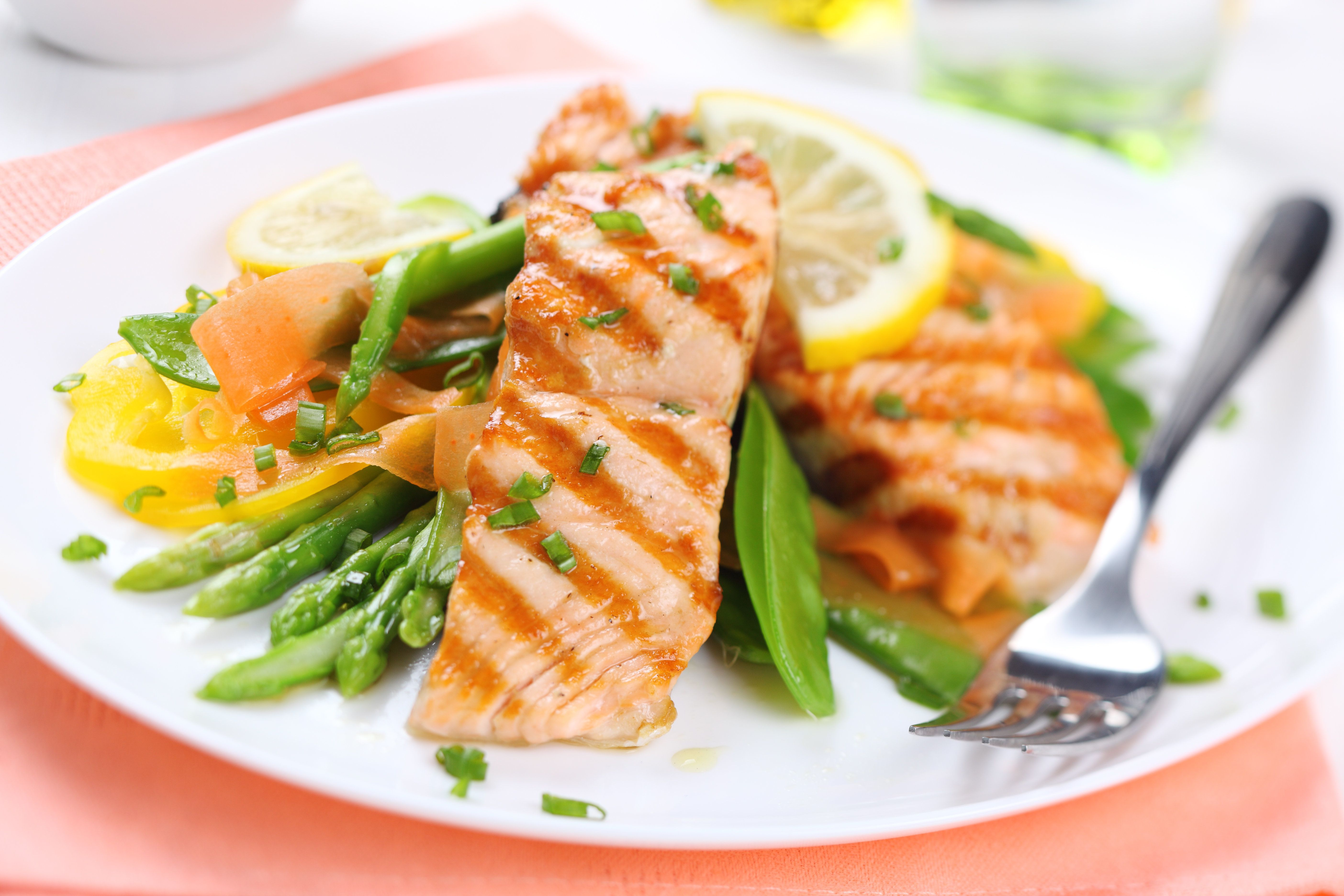 grilled salmon with spring...