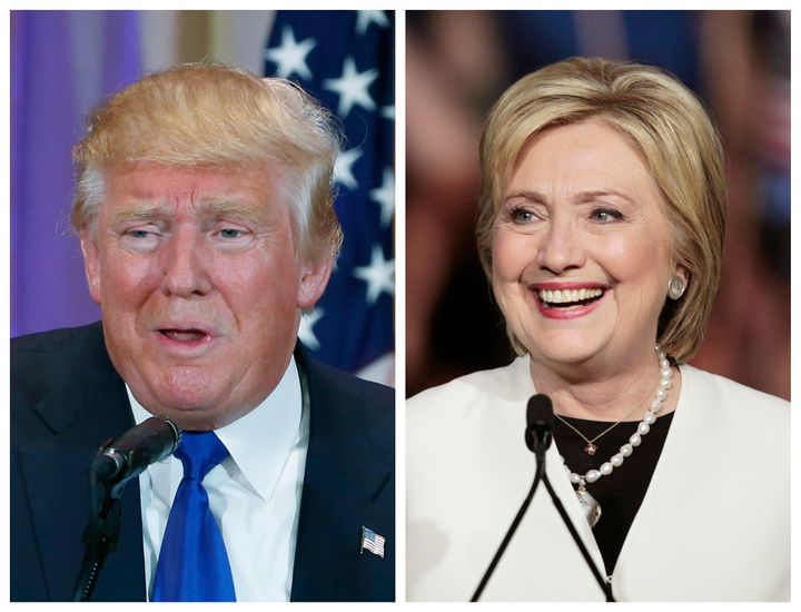 Republican U.S. presidential candidate Donald Trump (L) in Palm Beach, Florida and Democratic U.S. presidential candidate Hil