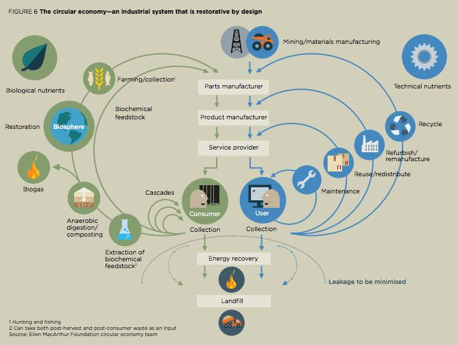 This diagram, made by the Ellen MacArthur Foundation, outlines how a circular economy would look.