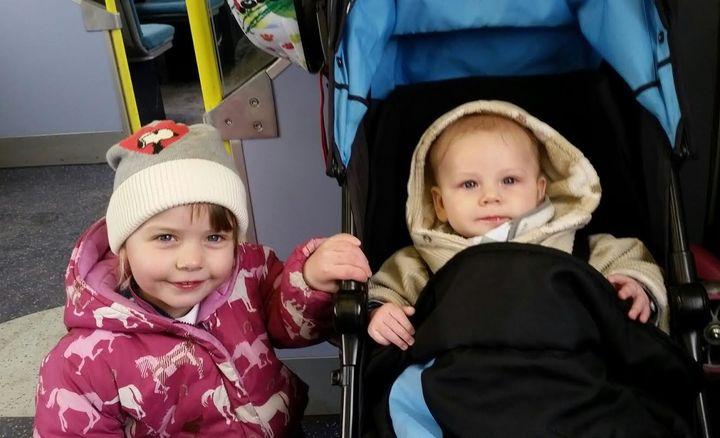Clair Cobbold's children Riley, three, and Benji, six months
