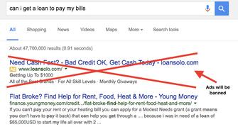Ads for payday loans will be banned, but organic results won't be.
