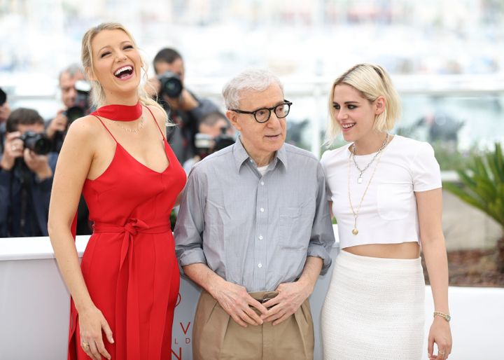 "Blake Lively, Woody Allen and Kristen Stewart attend the ""Cafe Society"" photo call during the 69th Annual Cannes Film Festiva"